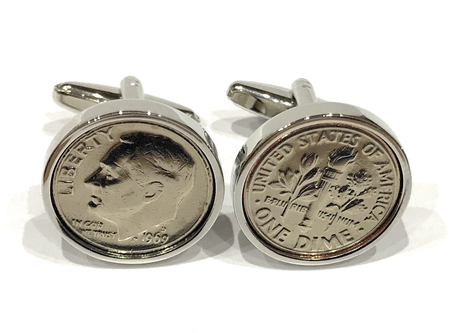 10th Tin Wedding Anniversary 2010 American dime coin cufflinks - Great Gift  USA