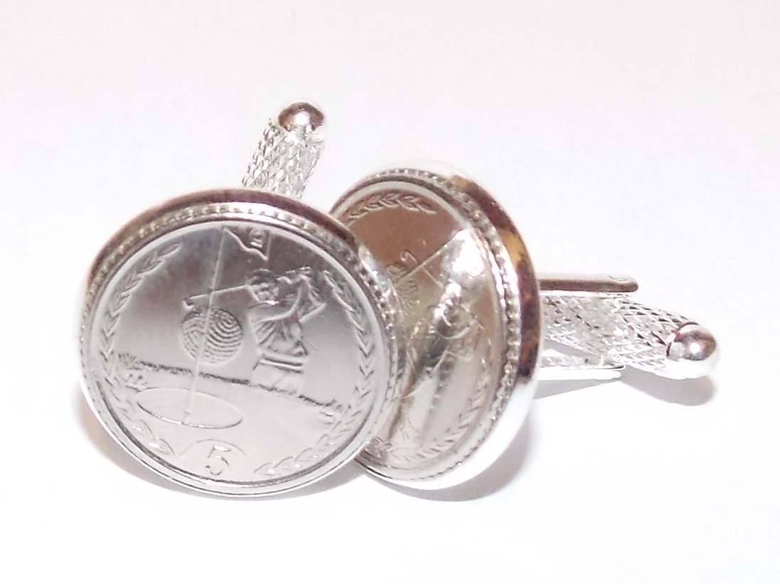 Golfing Cufflinks for the keen golfer made from real coins