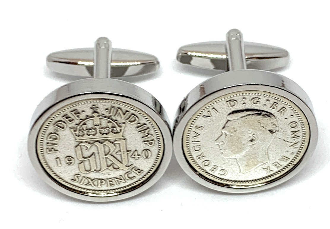 Sixpence for luck 1940 80th Birthday Cufflinks - WOW great gift - Cufflink box