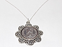 Floral Pendant  1925 Lucky sixpence  95th Birthday + 18 inch Sterling Silver Chain