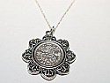 Floral Pendant  1957 Lucky sixpence  63rd Birthday + 18 inch Sterling Silver Chain