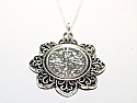 Floral Pendant  1935 Lucky sixpence  85th Birthday + 18 inch Sterling Silver Chain