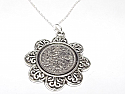 Floral Pendant  1960 Lucky sixpence  60th Birthday + 18 inch Sterling Silver Chain