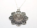 Floral Pendant  1947 Lucky sixpence  73rd Birthday + 18 inch Sterling Silver Chain