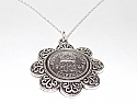 Floral Pendant  1945 Lucky sixpence  75th Birthday + 18 inch Sterling Silver Chain