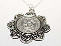 Floral Pendant  1924 Lucky sixpence  96th Birthday + 18 inch Sterling Silver Chain